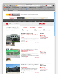 Screenshot of commercial search